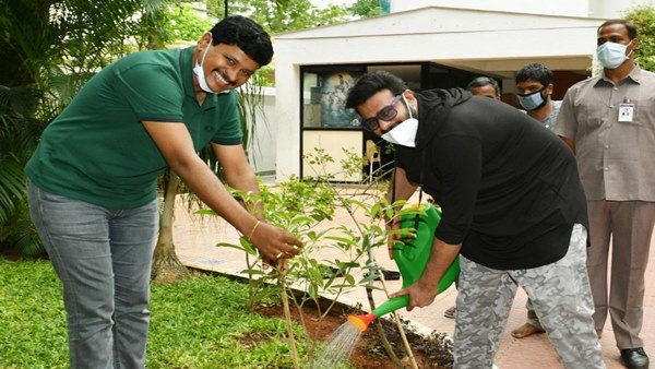Prabhas Spotted Participating In Plantation Drive With TRS Leader Santosh Kumar J